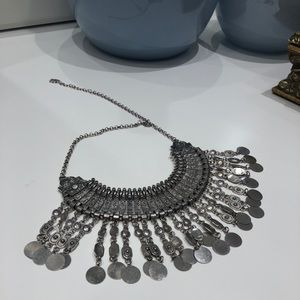 Silver bohemian style necklace